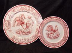 "2 pc. Haldon Group Rooster RED Toile Plates – 11"" Dinner, 8 ½"" Salad"
