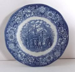 "Liberty Blue Ironstone SALAD PLATE 7"" Washington Leaving Christ Church"