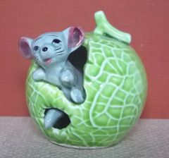 1960's Enesco Japan Green Apple with Grey Mouse