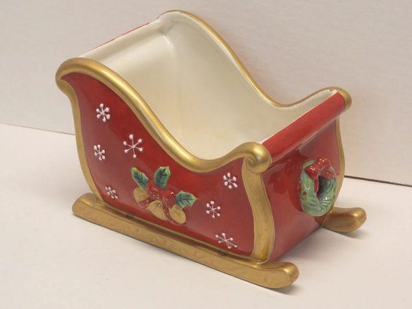 Fitz and Floyd 'Festive Bells' Sleigh Candy Dish, Planter, Centerpiece