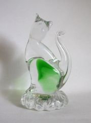 Murano ICET Handblown Art Glass Summerso Clear & Green Cat
