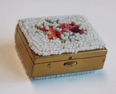 Vintage Petit Point Seed Pearl Pill Box