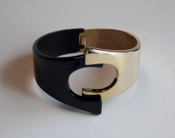 Modernist Two Tone Gold Tone and Black Clamper Bracelet