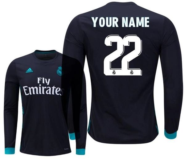wholesale dealer 34602 10b72 Real Madrid Men Jersey Away 2017-2018 Long Sleeve CUSTOM