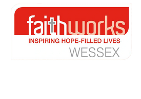 Faithworks logo in red and white