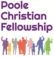Poole Christian Fellowship logo with purple text and a line of people. of different ages and genders