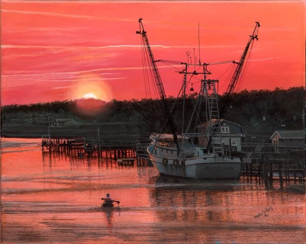 """WESLEY'S PRIDE AND THE SUNSET KAYAKER , 16""""x 20""""high rez canvas print signed and dated by artist. the original was selected for entry into the Coos Bay Art Museum western exhibition in 2019."""