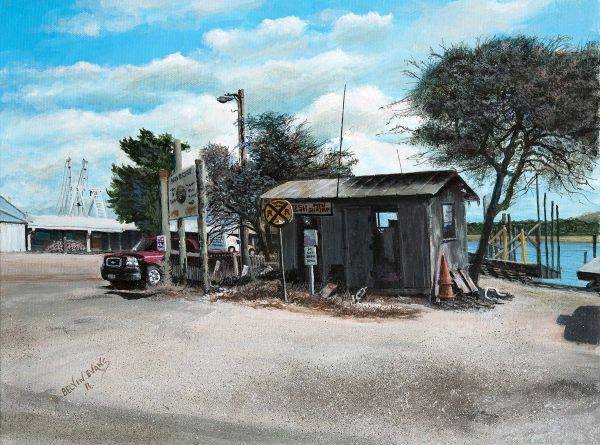 shrimp shack at loc wood folly, 12x16 inches gicle'e high rez canvas print, signed and dated by artist