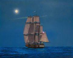 full moon (corvette french privateer AURORE) captured on 1/18/1801, 16x20 inches gicle'e high rez canvas print, signed and dated by artist.