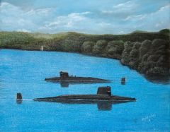panama canal first and last time in history 2 FBM submarines were there 14x18 inches high rez canvas signed and dated