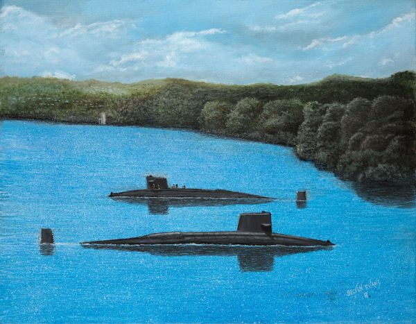 mini print matted for 8x10 inch frame first and last time that 2 FBM submarines were in the panama canal