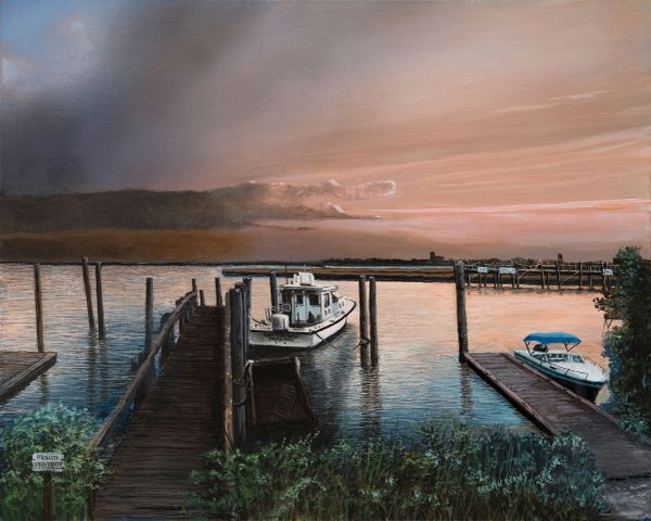 """SOUTH PORT II, 16""""X 20"""" inches gicle'e high res canvas print .signed and dated by artist"""