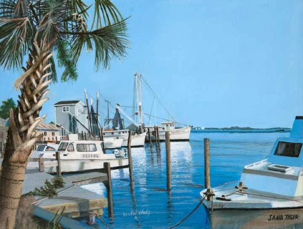 """SOUTH PORT NC, 12""""X 16""""gicle'e high rez canvas print signed and dated by artist . the original painting was selected for entry into the Coos Bay Art Museum western exhibition 2017"""