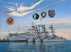 "four shades of grey, USS Klondike AR 22 . my ship 1960 , 18""x 24"" high rez canvas print signed and dated by artist.."