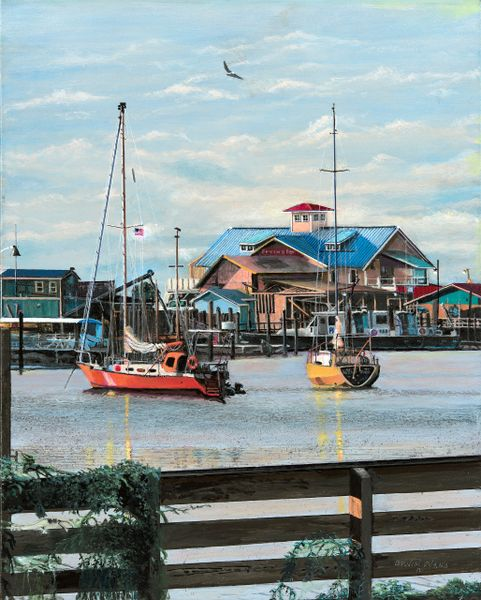 "PILOT BOAT HARBOR SOUTH PORT NC , mini print matted for 8""x 10""frame"