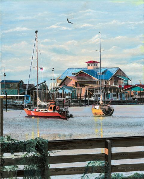 "PILOT BOAT HARBOR SOUTHPORT NC , 12""x 16""gicle'e high rez canvas print. signed and dated by artist."