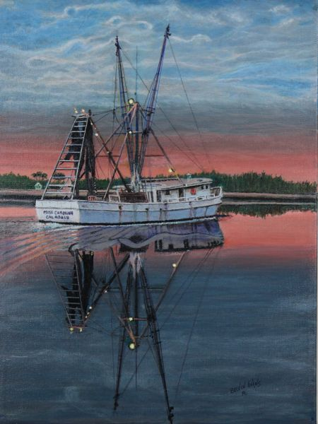 "UNDERWAY AS THE SUN RISES, 12""X 16"" Gicle.e high rez canvas print , signed and dated by artist"
