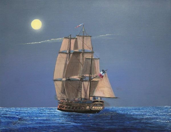 """FRENCH CORVETTE AURORE. 16""""x 20"""" high rez canvas print , signed and dated by artist"""