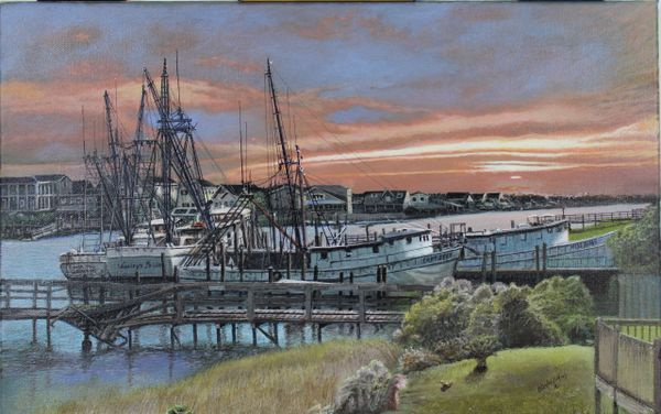 "BROKEN BOATS AND PIER , 14""x 22"" Gicle'e canvas print signed and dated by artist."