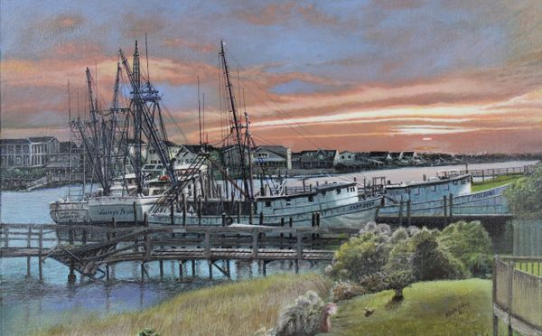 """BROKEN BOATS AND A BROKEN PIER, 14""""X 22"""" gicle'e high resolution canvas print. signed and dated by artist"""