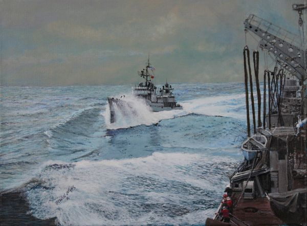 """SETTING UP FOR REFULING AT SEA. 12""""x 16"""" high quality gallery gloss canvas print . signed and dated by artist."""