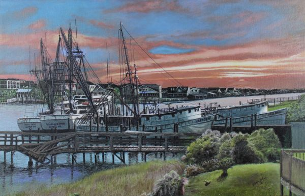 """BROKEN BOATS AND A BROKEN PIER, 12""""x 20"""" high resolution gallery high quality canvas print. the original has been juried into the Coos Bay Art museum"""