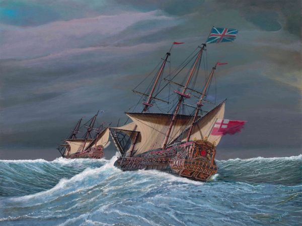 """THIRD RATE SHIP OF THE LINE , 18 """"x 24"""" inches , gicle'e high rez canvas print, signed and dated by artist."""