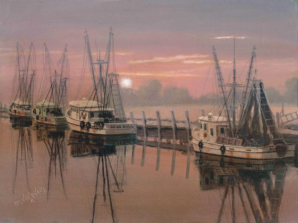 "SHEM CREEK SUNSET, 12""x 16""high rez canvas print signed and dated by artist. the original has been juried into the ASMA western exhibition at the Channel Islands Maritime Museum nail"