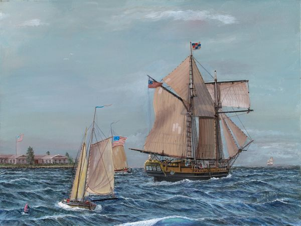 American schooner liberty of 1775 , 16x20 inches , gicle'e high res canvas print, signed and dated by artist.