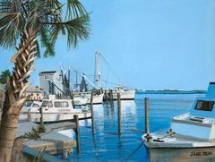 SOUTH PORT NC mini print matted for 8'x 10 frame