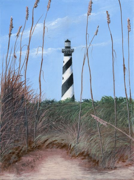 hatteras light house mini print matted for 8x10 frame