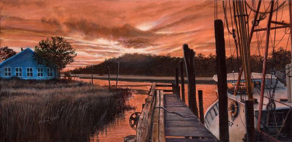 calabash ll sunrise 15x30 inches, gicle'e high rez canvas print, signed and dated by artist.