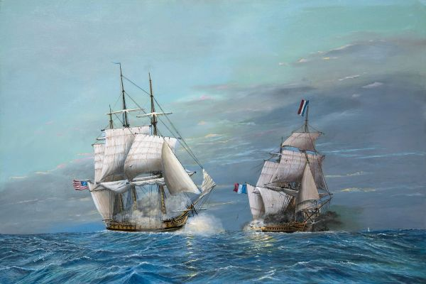 USS CONSELLATION VS I'ENSURGENTE, mini print high res gicle'e 310 cram paper. matted for 8x10 frame