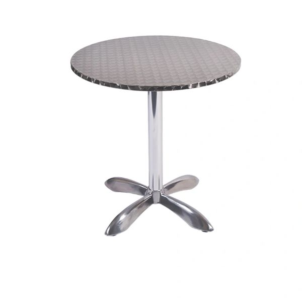 "Outdoor Restaurant Cafe Stainless Steel Table Top with Chrome Base 28"" Round"