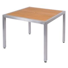 """Outdoor Restaurant Cafe Teak Table Top with Base 36"""" x 36"""" Square"""