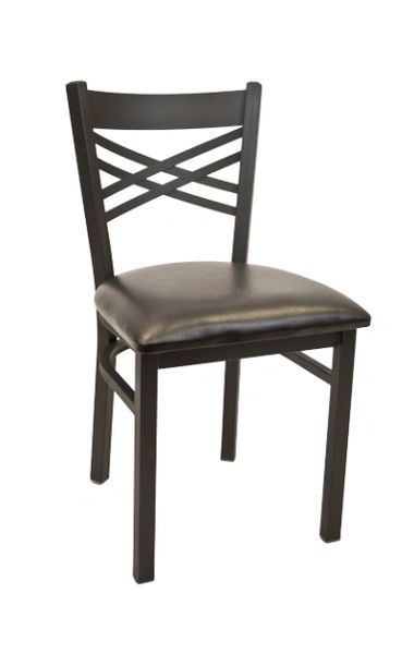 Metal X-Back Restaurant Dining Chair Black Frame Finish Black Vinyl Seat