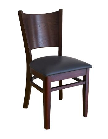 16. Wood Full Back Restaurant Dining Chair Dark Mahogany Finish Black Vinyl Padded Seat