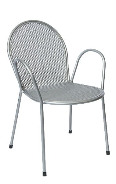 Outdoor Arm Chair Micro Mesh Restaurant Cafe Silver Finish