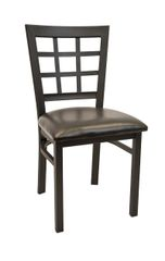 Metal Window Pane Back Restaurant Dining Chair Black Frame Finish Black Vinyl Seat
