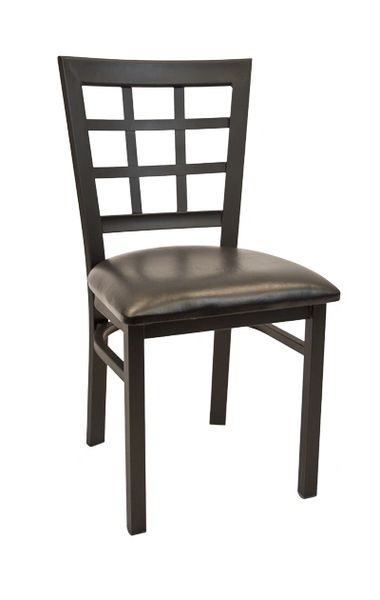 Metal Window Pane Back Restaurant Dining Chair Black Frame Finish Black Vinyl Seat