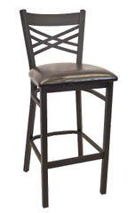 Metal X-Back Restaurant Dining Bar Stool Black Frame Finish Black Vinyl Seat