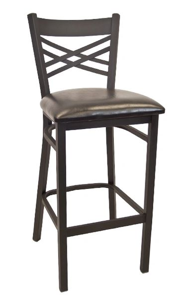 Metal X-Back Restaurant Dining Bar Stool Black Frame Finish Black Vinyl Seat