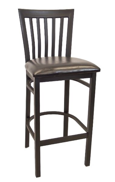 Metal Elongated Back Restaurant Dining Bar Stool Black Frame Finish Black Vinyl Seat