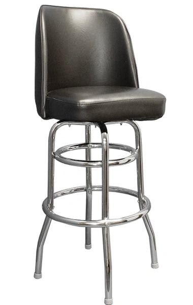 Swivel Bar Stool Retro Double Ring Chrome Frame Bucket Seat Black Vinyl