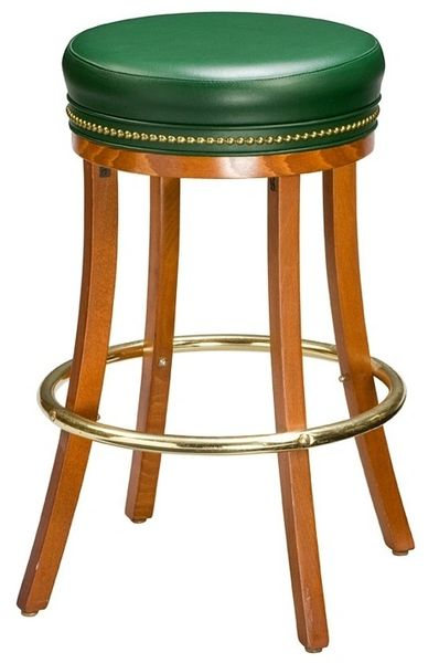 Backless Wood Swivel Bar Stool Padded Seat Type C