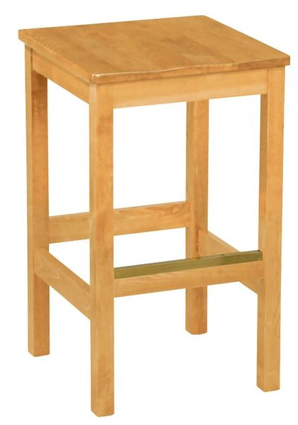 Backless Wood Bar Stool Square Solid Wood Seat