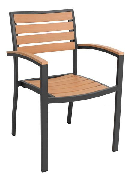 Outdoor Restaurant Cafe Arm Chair Black or Silver Finish Synthetic Teak Stackable