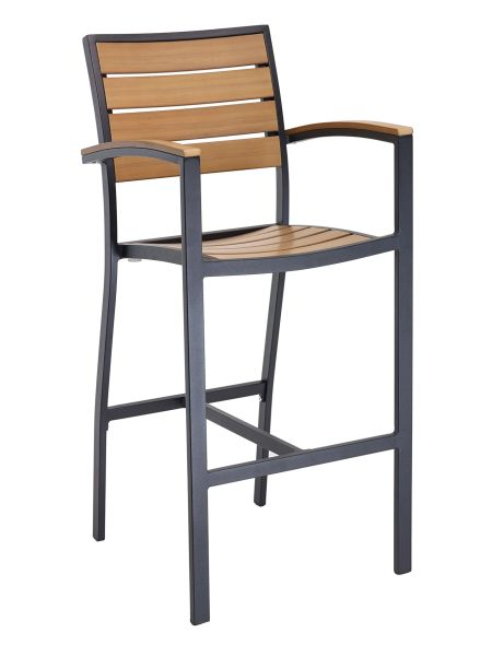 Outdoor Restaurant Cafe Bar Stool With Arms Black or Silver Finish Synthetic Teak