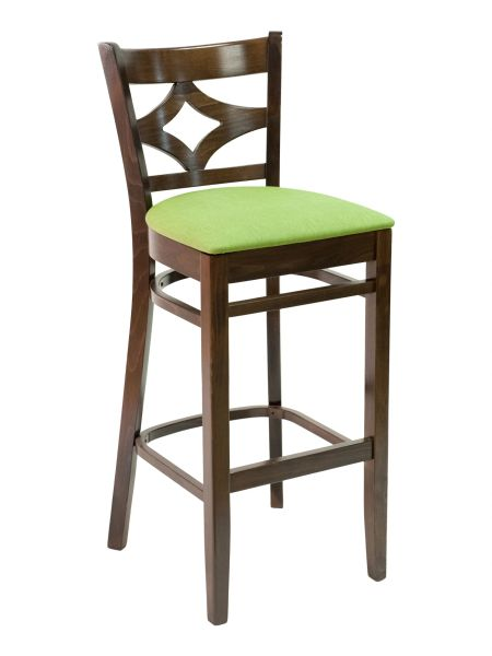 10. Wood Diamond Back Upholstered Padded Seat Restaurant Dining Bar Stool