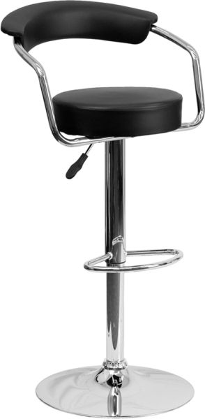 Chic Bar Stool Adjustable Height with Arms Chrome Frame Vinyl Seat and Back